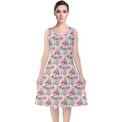 Cute Floral 218a V Neck Midi Sleeveless Dress