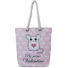 Cute Mouse   Valentines Day Full Print Rope Handle Tote (small)