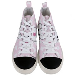 Cute Mouse   Valentines Day Men s Mid Top Canvas Sneakers