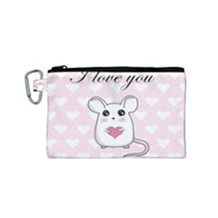 Cute Mouse   Valentines Day Canvas Cosmetic Bag (small)
