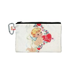 Cupid   Vintage Canvas Cosmetic Bag (small)