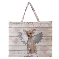 Vintage Chihuahua   Valentines Day Zipper Large Tote Bag