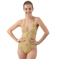 Bee Pattern Halter Cut Out One Piece Swimsuit