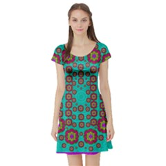 The Worlds Most Beautiful Flower Shower On The Sky Short Sleeve Skater Dress