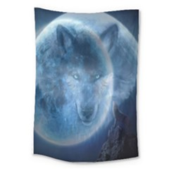 Shadow Moon Wolf Large Tapestry