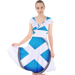 Scotland Nation Country Nationality Cap Sleeve Front Wrap Midi Dress