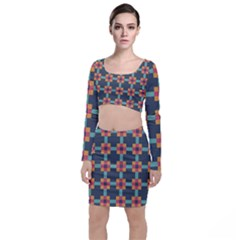 Squares Geometric Abstract Background Long Sleeve Crop Top & Bodycon Skirt Set