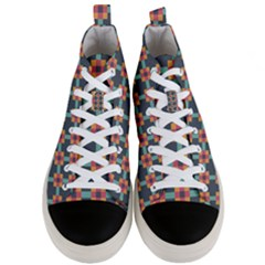Squares Geometric Abstract Background Men s Mid Top Canvas Sneakers
