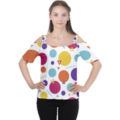 Background Polka Dot Cutout Shoulder Tee