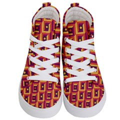 3 D Squares Abstract Background Kid s Hi Top Skate Sneakers