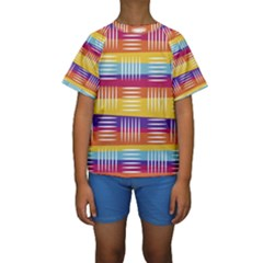Art Background Abstract Kids  Short Sleeve Swimwear