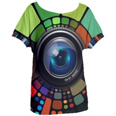 Lens Photography Colorful Desktop Women s Oversized Tee