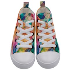 Texture Background Squares Tile Kid s Mid Top Canvas Sneakers