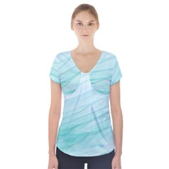 Blue Texture Seawall Ink Wall Painting Short Sleeve Front Detail Top