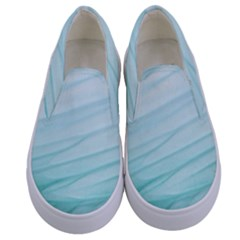 Blue Texture Seawall Ink Wall Painting Kids  Canvas Slip Ons