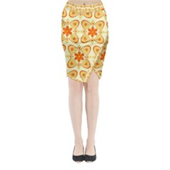 Background Floral Forms Flower Midi Wrap Pencil Skirt