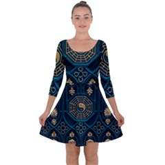 Ying Yang Abstract Asia Asian Background Quarter Sleeve Skater Dress