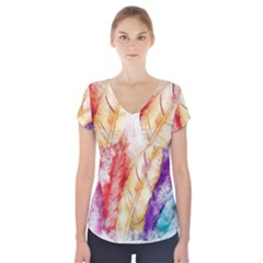 Feathers Bird Animal Art Abstract Short Sleeve Front Detail Top
