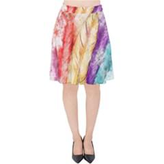 Feathers Bird Animal Art Abstract Velvet High Waist Skirt