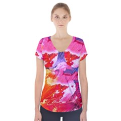 Abstract Art Background Paint Short Sleeve Front Detail Top