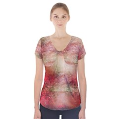 Background Art Abstract Watercolor Short Sleeve Front Detail Top