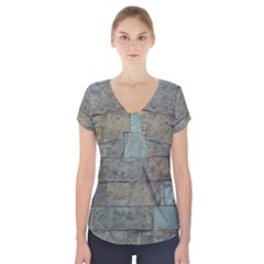 Wall Stone Granite Brick Solid Short Sleeve Front Detail Top