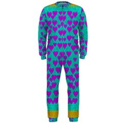 Raining Love And Hearts In The  Wonderful Sky Onepiece Jumpsuit (men)