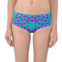 Raining Love And Hearts In The  Wonderful Sky Mid Waist Bikini Bottoms