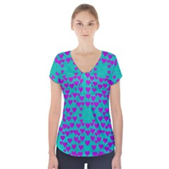 Raining Love And Hearts In The  Wonderful Sky Short Sleeve Front Detail Top