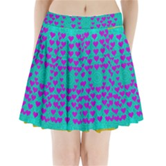 Raining Love And Hearts In The  Wonderful Sky Pleated Mini Skirt