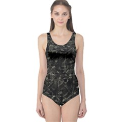 Abstract Collage Patchwork Pattern One Piece Swimsuit