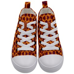 Black And Orange Diamond Pattern Kid s Mid Top Canvas Sneakers