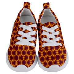 Black And Orange Diamond Pattern Kids  Lightweight Sports Shoes