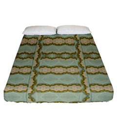 Celtic Wood Knots In Decorative Gold Fitted Sheet (queen Size)