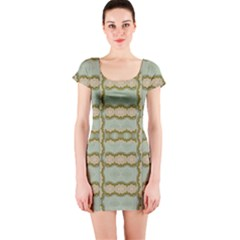Celtic Wood Knots In Decorative Gold Short Sleeve Bodycon Dress