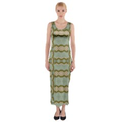 Celtic Wood Knots In Decorative Gold Fitted Maxi Dress