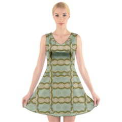 Celtic Wood Knots In Decorative Gold V Neck Sleeveless Skater Dress