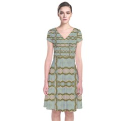 Celtic Wood Knots In Decorative Gold Short Sleeve Front Wrap Dress