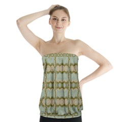Celtic Wood Knots In Decorative Gold Strapless Top