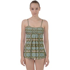 Celtic Wood Knots In Decorative Gold Babydoll Tankini Set