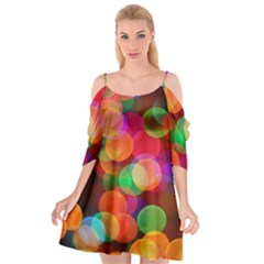 Color Explosion Cutout Spaghetti Strap Chiffon Dress