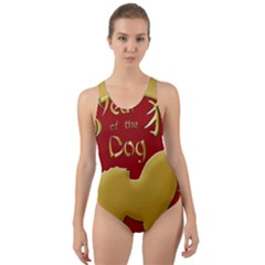 Year Of The Dog   Chinese New Year Cut Out Back One Piece Swimsuit
