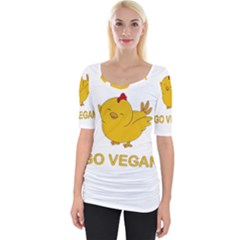 Go Vegan   Cute Chick  Wide Neckline Tee