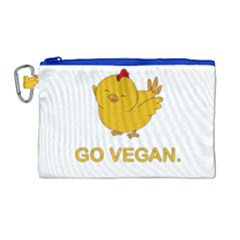 Go Vegan   Cute Chick  Canvas Cosmetic Bag (large)