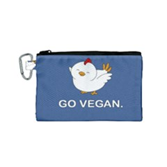 Go Vegan   Cute Chick  Canvas Cosmetic Bag (small)