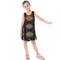 Paradise Flowers In A Decorative Jungle Kids  Sleeveless Dress