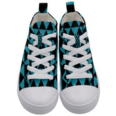 Triangle3 Black Marble & Turquoise Glitter Kid s Mid Top Canvas Sneakers