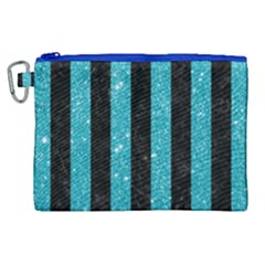 Stripes1 Black Marble & Turquoise Glitter Canvas Cosmetic Bag (xl)