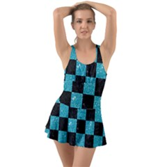Square1 Black Marble & Turquoise Glitter Swimsuit