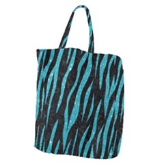 Skin3 Black Marble & Turquoise Glitter (r) Giant Grocery Zipper Tote